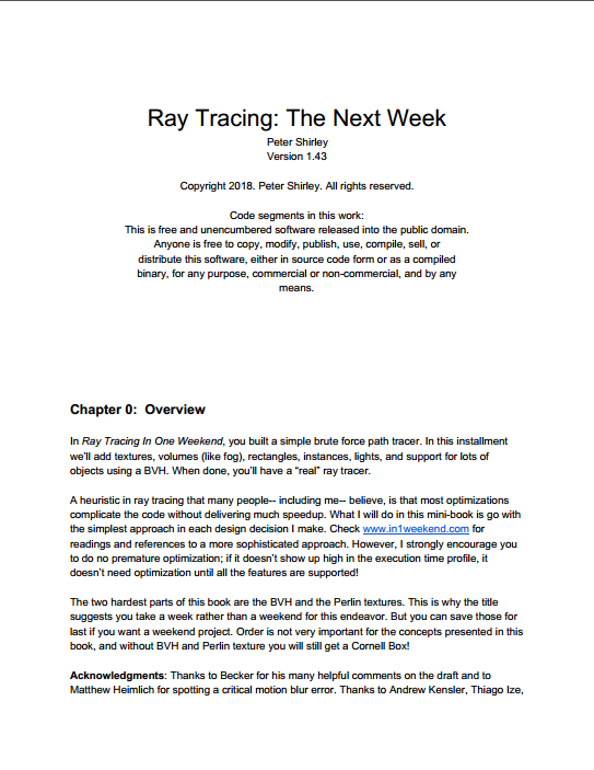 资源分享 – Ray Tracing – The Next Week英文高清PDF下载